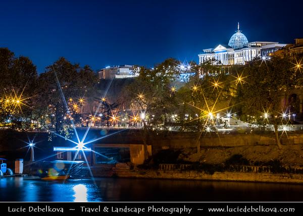 Georgia - Tbilisi - თბილისი - Capital City - Presidential Palace & Mt'k'vari (Kura) River during Dusk - Twilight - Blue Hour - Evening - Night