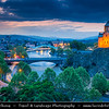 Georgia - Tbilisi - თბილისი - Capital City - City Skyline & Metekhi Church on Elevated Cliff & Mt'k'vari (Kura) River during Dusk - Twilight - Blue Hour - Night