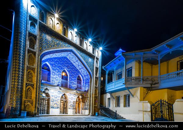 Georgia - Tbilisi - თბილისი - Capital City - Bath House - Orbeliani Bathhouse with tiles facade in islamic styled Sulfur Baths at Night