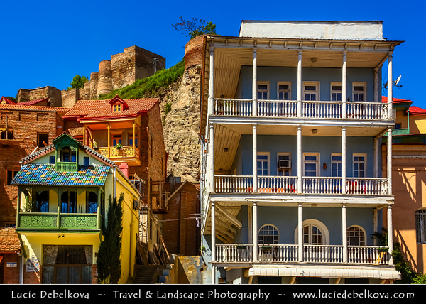Georgia - Tbilisi - თბილისი - Capital City - Traditional typical wooden houses with beautifuol balconies in the old part of town