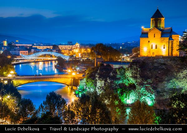 Georgia - Tbilisi - თბილისი - Capital City - City Skyline & Metekhi Church on Elevated Cliff & Mt'k'vari (Kura) River during Dusk - Twilight - Blue Hour - Night
