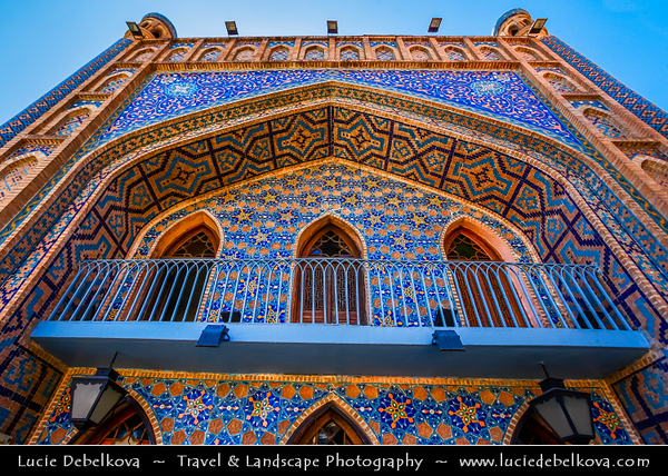 Georgia - Tbilisi - თბილისი - Capital City - Bath House - Orbeliani Bathhouse with tiles facade in islamic styled Sulfur Baths