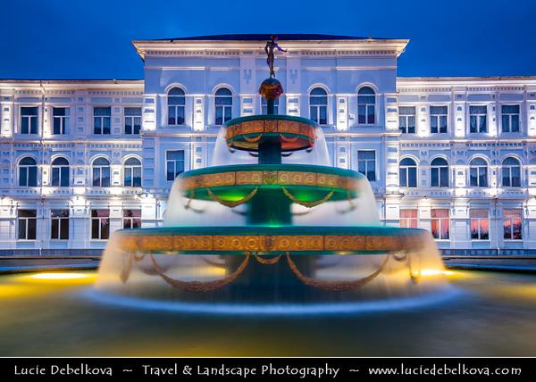 Georgia - Batumi - ბათუმი - Seaside city on the Black Sea coast & capital of Adjara (autonomous republic in southwest Georgia) -  Shota Rustaveli State University  Fountain at Dusk - Twilight - Blue Hour