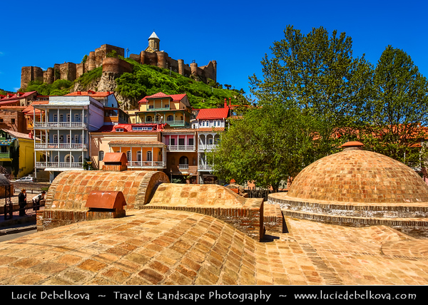 Georgia - Tbilisi - თბილისი - Capital City - Narikhala - Narikala Fortress - ნარიყალა - Ancient fortress overlooking old town & Traditional typical wooden houses with beautifuol balconies in the old part of town