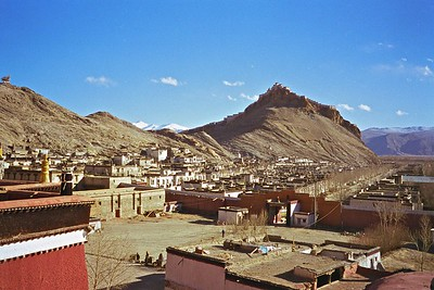 The Gyantse Dzong (fort) on the hilltop