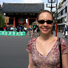 Sheri in front of the gate at Asakusa shrine in Tokyo.