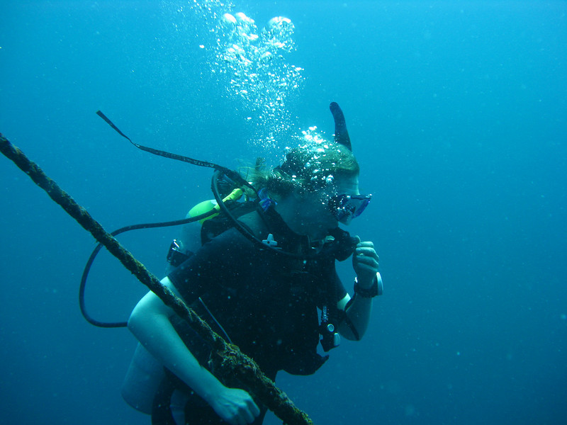 Sheri descends on our first dive.