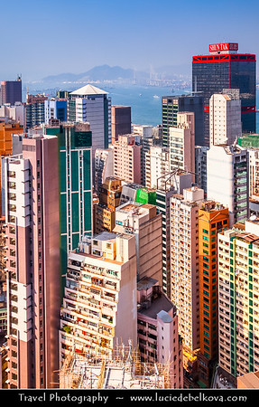 Asia - Hong Kong - 香港 - Special administrative regions (SARs) of the People's Republic of China - View of high rise buildings, skyscrapers on the city skyline of Victoria Harbour in Central district of Hong Kong Island