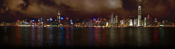 Hong Kong skyline panorama at night, Hong Kong, China  Similar to the photo at dusk, this image is a composite from 26 images taken in the same manner as the other photo.