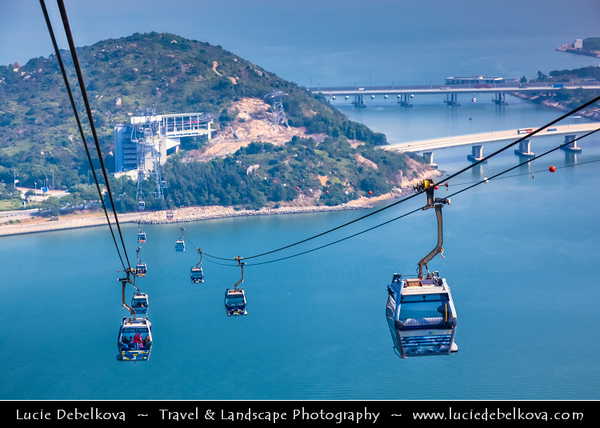 Asia - Hong Kong - 香港 - Special administrative regions (SARs) of the People's Republic of China - Lantau Island - Cable Car towards Po Lin  Buddhist Monastery located on Ngong Ping Plateau -