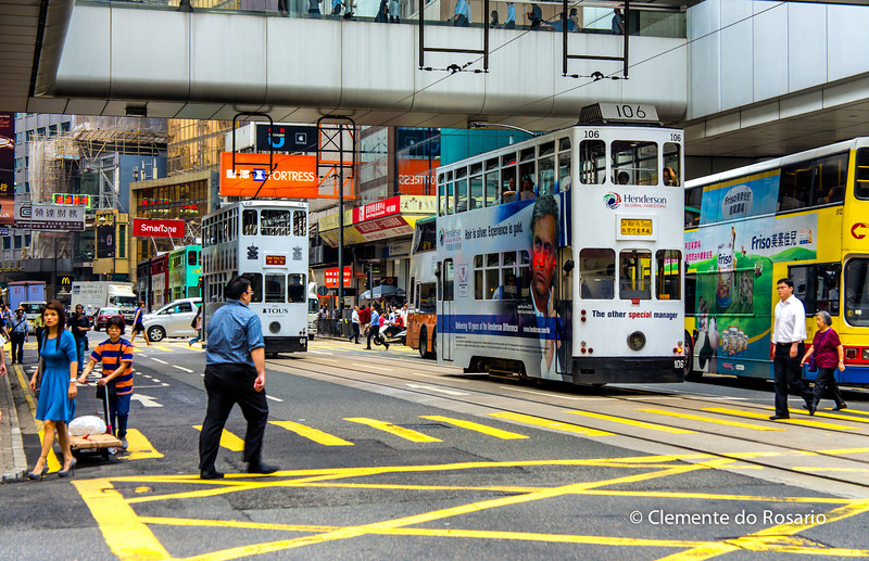 Double-decker wooden trams are one of many transit options in Hong Kong<br /> File Ref:2012-06-25-Hong Kong 086 1736