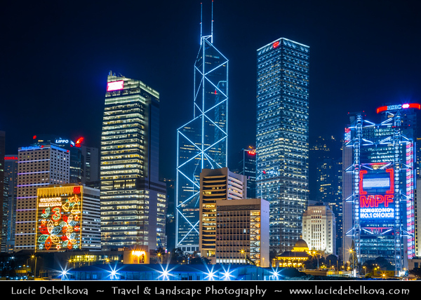 Asia - Hong Kong - 香港 - Special administrative regions (SARs) of the People's Republic of China - Night view of high rise buildings, skyscrapers on the city skyline of Victoria Harbour in Central district of Hong Kong Island