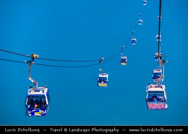 Asia - Hong Kong - 香港 - Special administrative regions (SARs) of the People's Republic of China - Lantau Island - Cable Car towards Po Lin  Buddhist Monastery located on Ngong Ping Plateau