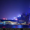 Asia - Hong Kong - 香港 - Special administrative regions (SARs) of the People's Republic of China - View of high rise buildings, skyscrapers on the city skyline of Victoria Harbour in Central district of Hong Kong Island - Hong Kong Exhibition and Convention Centre and IFC2 - Dusk - Twilight - Blue Hour