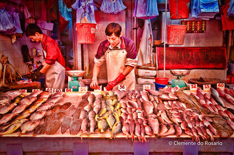 Fishmonger stall in the Wan Chai Market HongKong<br /> File Ref:2012-06-25-Hong Kong 051 531