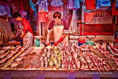 Fishmonger stall in the Wan Chai Market HongKong File Ref:2012-06-25-Hong Kong 051 531