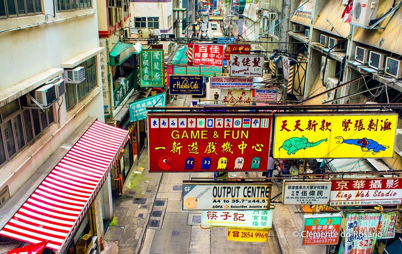 Colourful advertising banners, Hong Kong Island<br /> File Ref:2012-06-25-Hong Kong 060