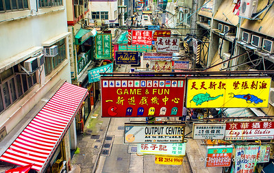 Colourful advertising banners, Hong Kong Island File Ref:2012-06-25-Hong Kong 060