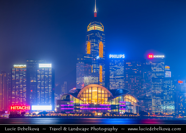 Asia - Hong Kong - 香港 - Special administrative regions (SARs) of the People's Republic of China - View of high rise buildings, skyscrapers on the city skyline of Victoria Harbour in Central district of Hong Kong Island - Light Show - Dusk - Twilight - Blue Hour