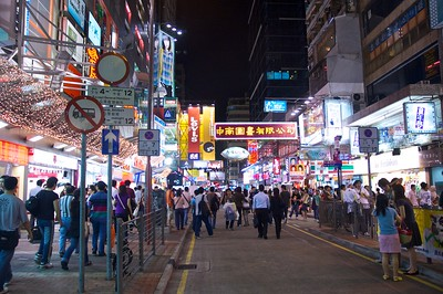 The night market is nearly as busy as daytime markets