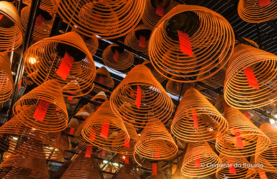 Curling Incense coils hanging from the ceiling in Man Mo Temple, Hong Kong File Ref:2012-06-25-Hong Kong 065