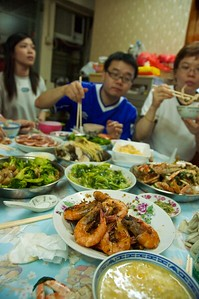 The last dinner in Hong Kong. A wonderful meal in an apartment less than 400 sq. ft. and a kitchen the size of an airplane lavatory.