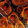 Curling Incense coils hanging from the ceiling in Man Mo Temple, Hong Kong<br /> File Ref:2012-06-25-Hong Kong 067