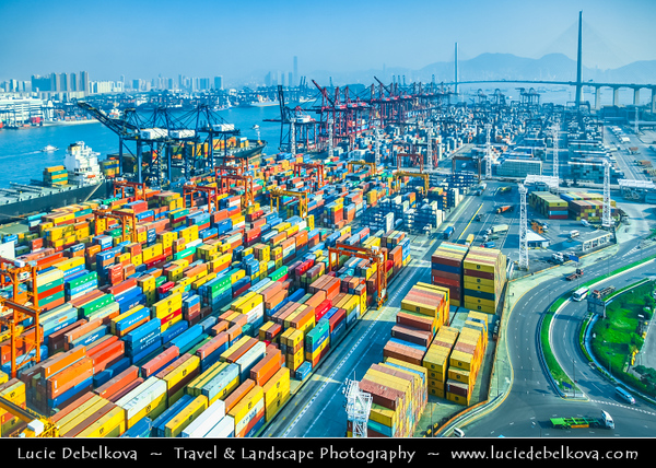 Asia - Hong Kong - 香港 - Special administrative regions (SARs) of the People's Republic of China - Transportation hub of Kowloon - Sci-fi Matrix like port dealing with thousands containers being shipped all over the world