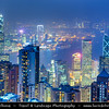 Asia - Hong Kong - 香港 - Special administrative regions (SARs) of the People's Republic of China - View of high rise buildings, skyscrapers on the city skyline of Victoria Harbour in Central district of Hong Kong Island - Dusk - Twilight - Blue Hour
