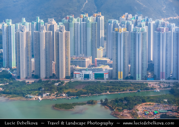 Asia - Hong Kong - 香港 - Special administrative regions (SARs) of the People's Republic of China - Lantau Island - View from Cable Car towards Po Lin  Buddhist Monastery located on Ngong Ping Plateau -