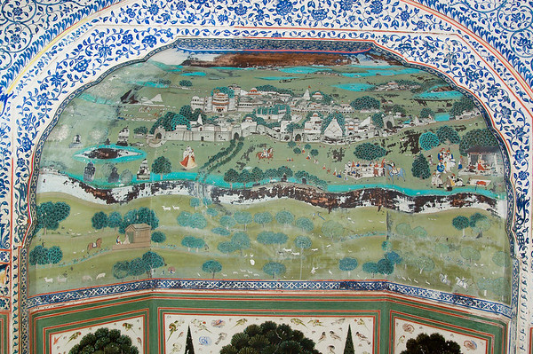 Samode Palace wall detail. These paintings were used as aids to teach children.