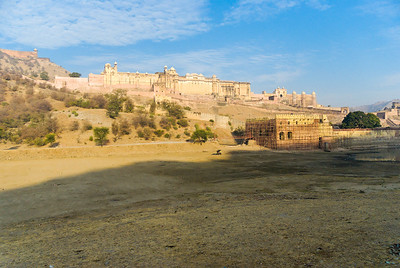 Amber Fort, near Jaipur. The fort was initially a palace within the original Amber Fort  which is today known as Jaigarh Fort. Jaigarh Fort is on the hill above the Amber complex. It overlooks Maotha lake (foreground, now dry)