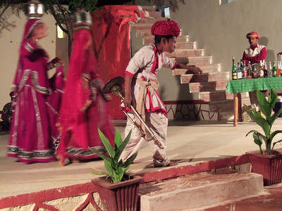 That evening we were given a demonstration of local dancing - the set matched the show in Jaipur almost exactly, down to the kid with attitude who attmpted to steal the show from the dancers