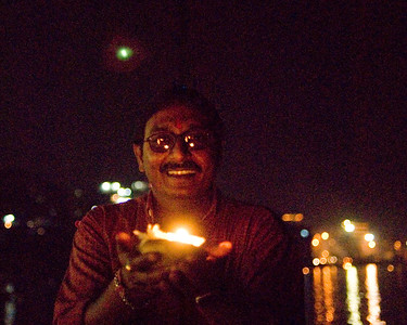 We bought candles to float on the Ganges