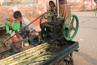 A press to extract the juice from sugar cane