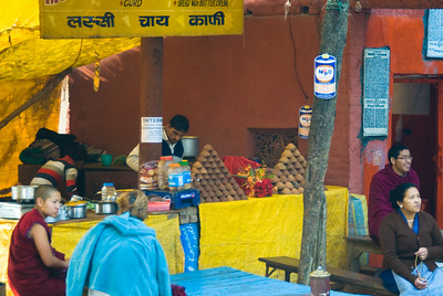 Tea shop - the earthernware cups piled in the yellow tables are used once, then broken