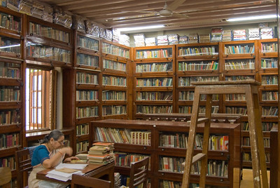 The Ghandi Library. From here I dashed around the corner to an Internet cafe and reserved exit row seats  for our flight to London