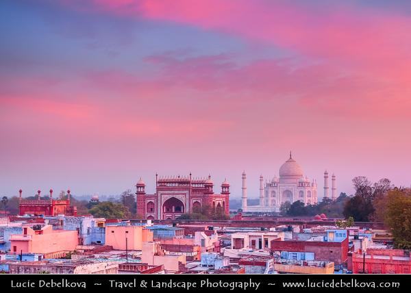 India - Uttar Pradesh State - Agra - Taj Mahal - UNESCO World Heritage Site - Jewel of Muslim Art in India - Exquisite 17th century ivory-white marble mausoleum on south bank of Yamuna river at Pink Sunrise