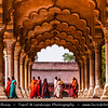 India - Uttar Pradesh State - Agra - Red Fort of Agra - UNESCO World Heritage Site - Iconic tourist attraction - Historical fort & main residence of emperors of Mughal Dynasty until middle of 17th century