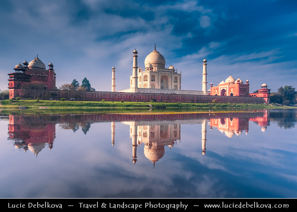India - Uttar Pradesh State - Agra - Taj Mahal - UNESCO World Heritage Site - Jewel of Muslim Art in India - Exquisite 17th century ivory-white marble mausoleum on south bank of Yamuna river