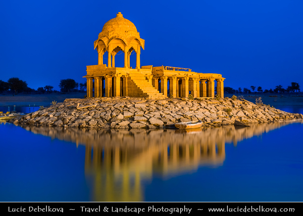 "India - Rajasthan - Jaisalmer - ""Golden City of India"" - UNESCO World Heritage Site - Former medieval trading center in heart of Thar Desert -  Gadi Sagar Temple on Lake Gadi Sar - One of the most beautiful man made marvels"