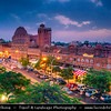 "India - Rajasthan - Jaipur - Historical Rajasthani town nicknamed as Pink City - Old City - UNESCO World Heritage Site - Hawa Mahal - Palace of Winds or ""Palace of the Breeze"" - Palace made with red and pink sandstone on edge of City Palace"
