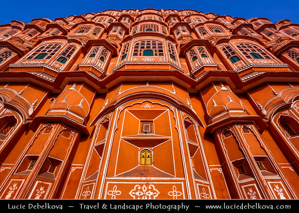 """India - Rajasthan - Jaipur - Historical Rajasthani town nicknamed as Pink City - Old City - UNESCO World Heritage Site - Hawa Mahal - Palace of Winds or """"Palace of the Breeze"""" - Palace made with red and pink sandstone on edge of City Palace"""