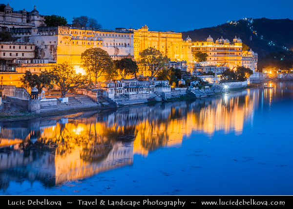 India - Rajasthan - Udaipur - City of Lakes - City Palace - Palace Complex at Shores of Lake Pichola built over a period of nearly 400 years - Fine example of splendour that Mewar rulers enjoyed centuries ago