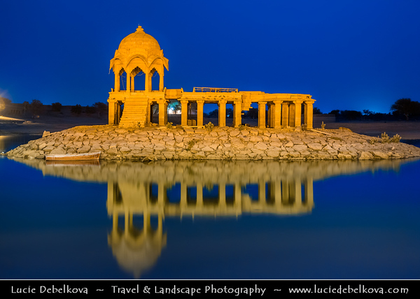 """India - Rajasthan - Jaisalmer - """"Golden City of India"""" - UNESCO World Heritage Site - Former medieval trading center in heart of Thar Desert -  Gadi Sagar Temple on Lake Gadi Sar - One of the most beautiful man made marvels"""
