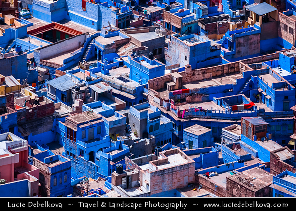 India - Rajasthan - Jodhpur - Blue City or Sun City - Walled city where many buildings are painted city's iconic shade of blue