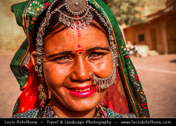 "India - Rajasthan - Jaisalmer - ""Golden City of India"" - Former medieval trading center in heart of Thar Desert - Local woman with traditional jewelry"