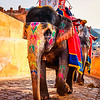 India - Rajasthan - Jaipur - Amber Palace - UNESCO World Heritage Site - Historical fort located high on hill - One of most well-known & most-visited forts in India & Principal tourist attraction in Jaipur - Traditional elephant ride up the hill