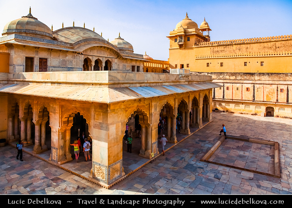 India - Rajasthan - Jaipur - Amber Palace - UNESCO World Heritage Site - Historical fort located high on hill - One of most well-known & most-visited forts in India & Principal tourist attraction in Jaipur