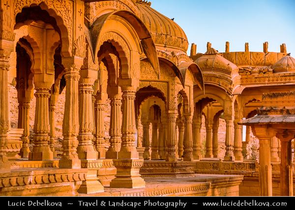 "India - Rajasthan - Jaisalmer - ""Golden City of India"" - Former medieval trading center in heart of Thar Desert - Bada Bagh - Barabagh - Golden Royal Cenotaphs of Bada Bagh & garden complex"